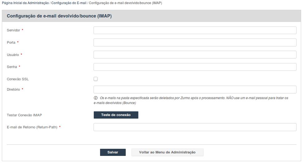 Configuração de devolução (bounce) de e-mail