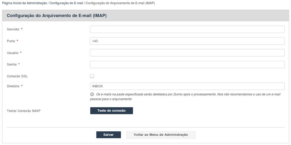 Configuração do Arquivamento de E-mail (IMAP)