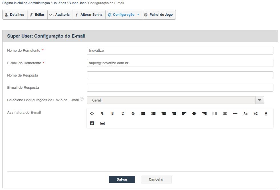 Configuração do E-mail do Usuário