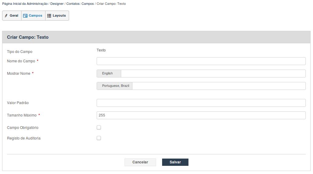 Criando um novo campo personalizado em Contatos através da ferramenta de Designer