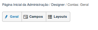 Opções de cada módulo na ferramenta de Designer