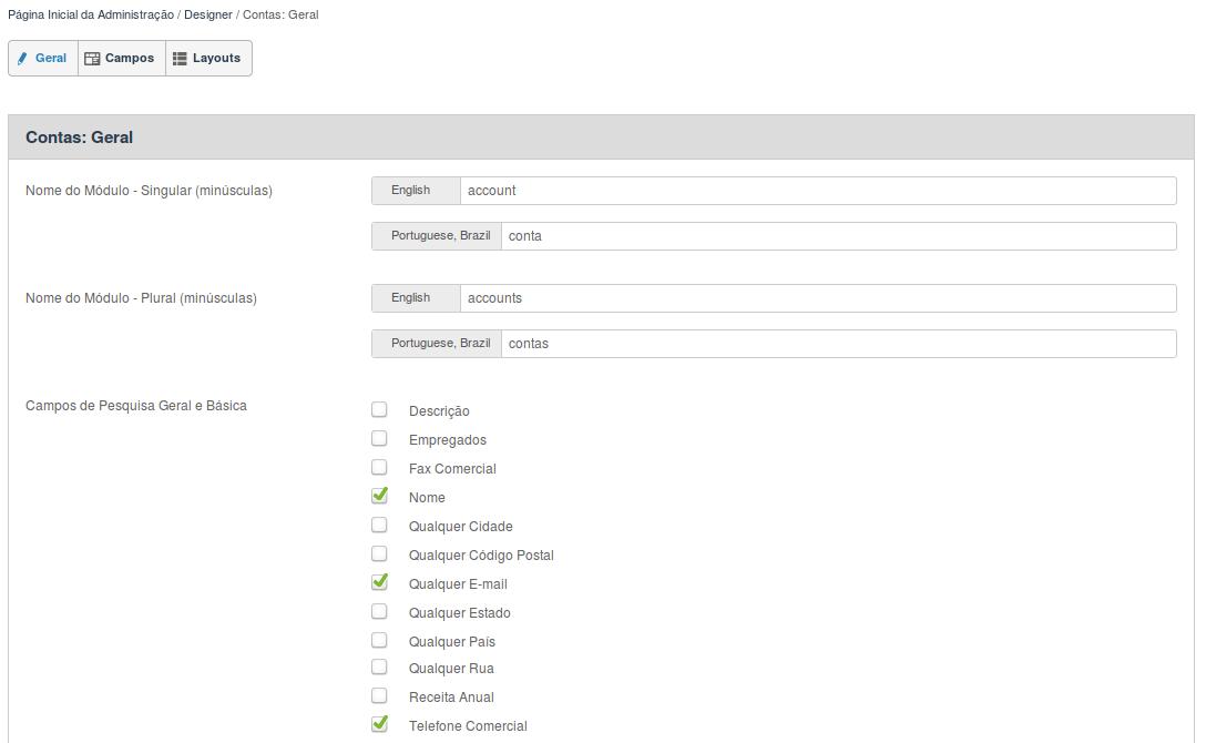 Detalhes da opção Geral dos módulos na ferramenta de Designer