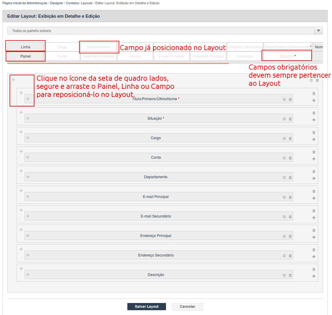 Detalhes do layout de Exibição de Detalhes e Edição do módulo de Contatos da ferramenta de Designer