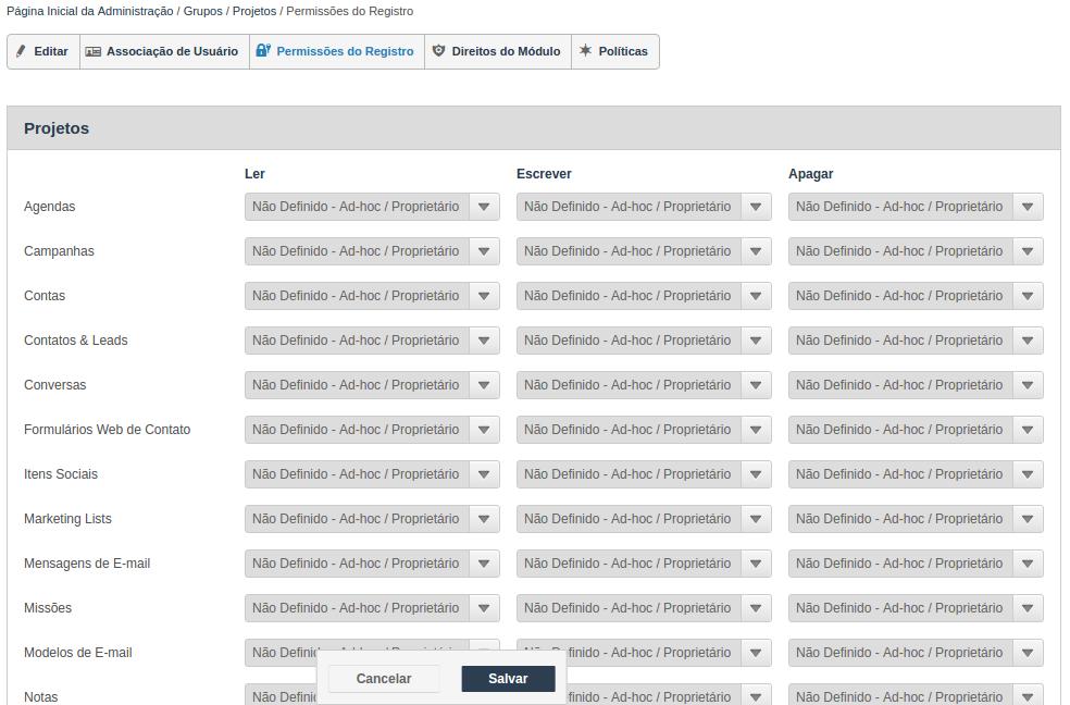 Permissões dos registros em Grupos no Inovatize Zurmo CRM