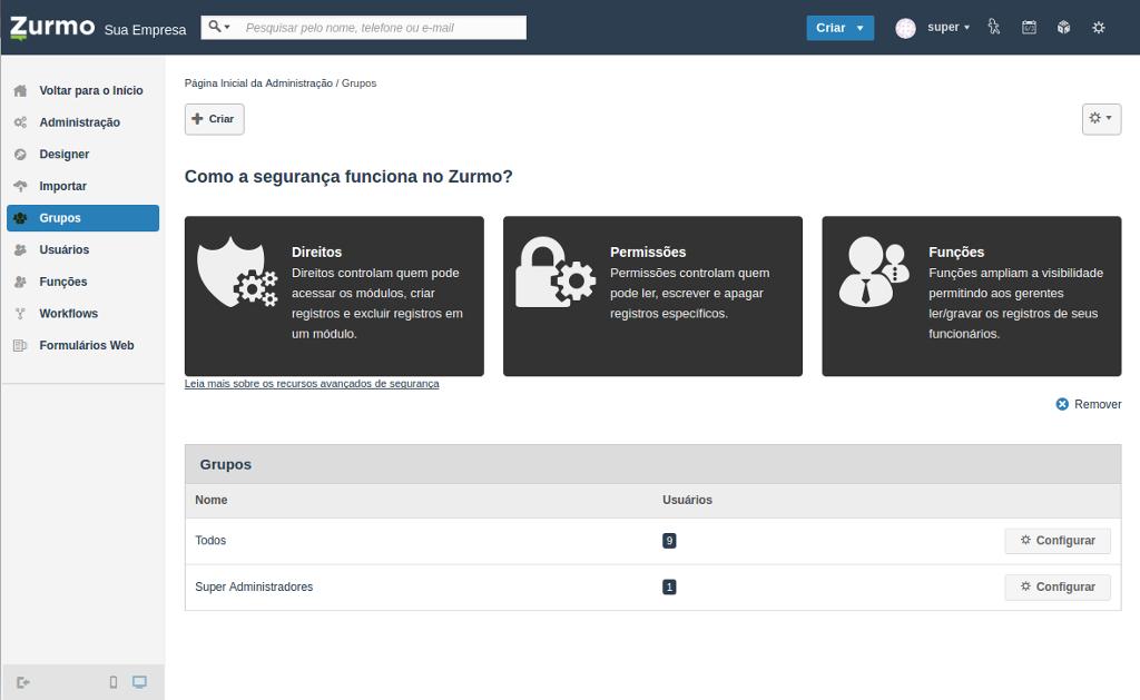 Tela inicial dos Grupos no Inovatize Zurmo CRM