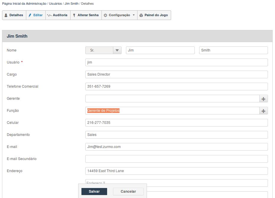 Configuração de nova Função no usuário no Inovatize Zurmo CRM