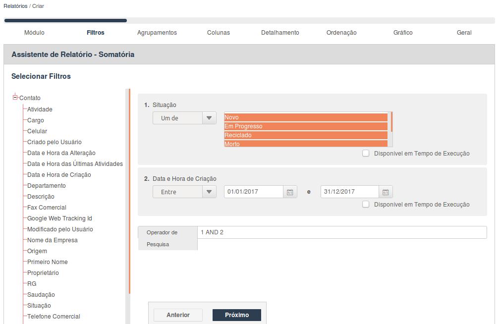 Assistente de Relatório para seleção dos filtros para o indicador geração de leads
