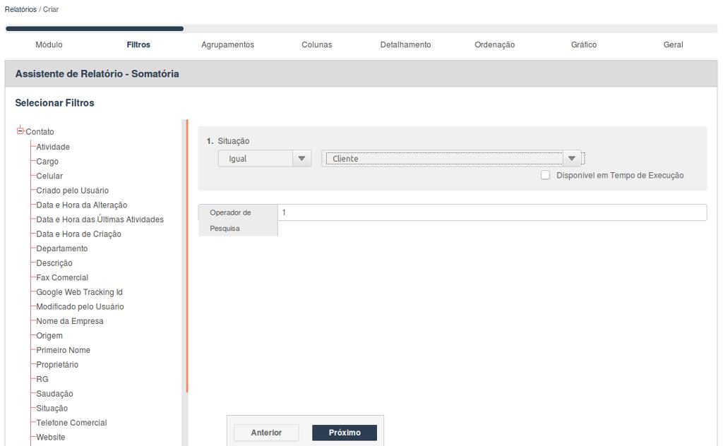 Seleção de filtros para criação do indicador de canais de aquisição de clientes