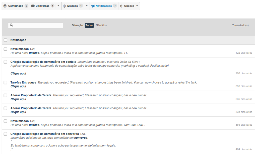 Caixa de entrada de notificações do Zurmo CRM