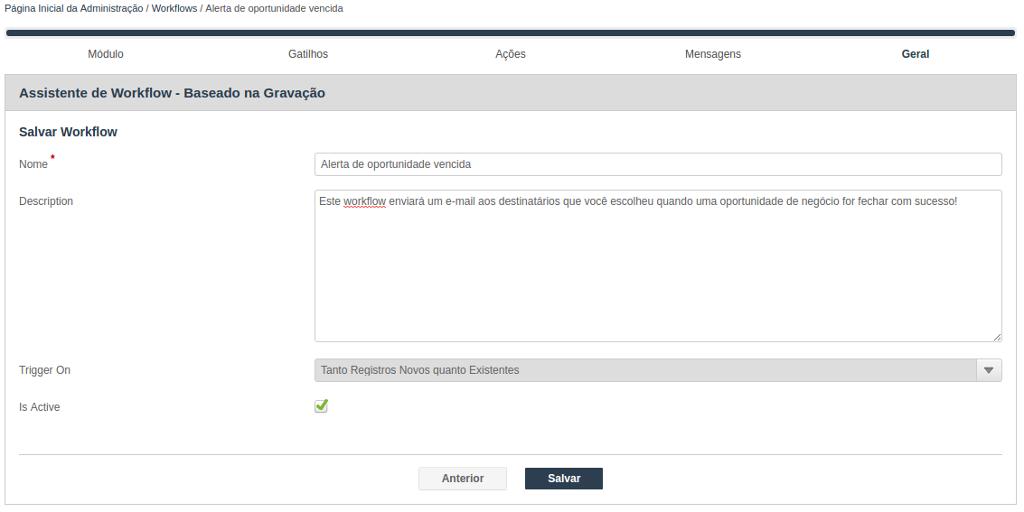 Assistente para criação de Workflow - Salvar Workflow