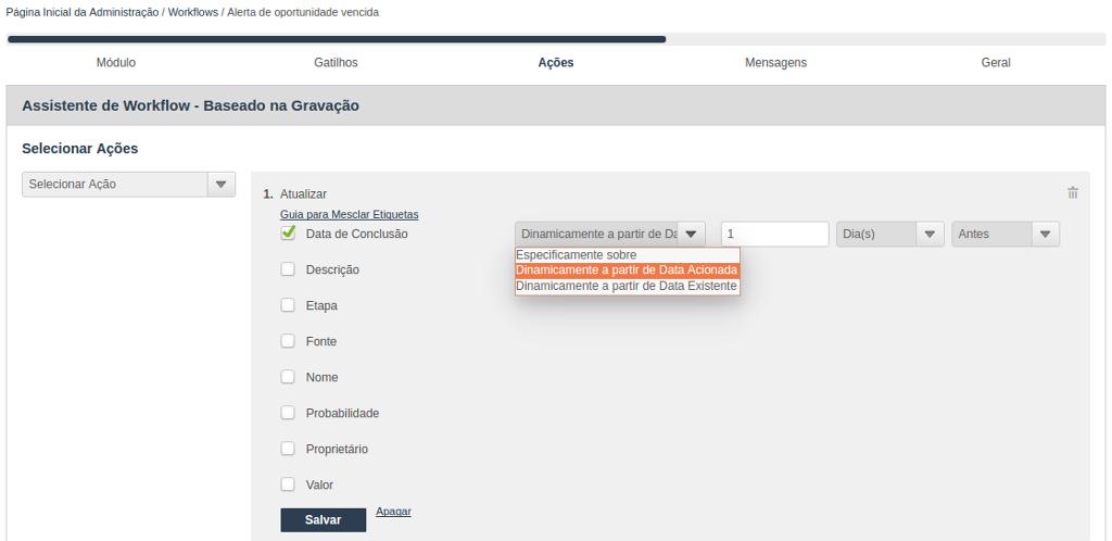 Assistente para criação de Workflow - Selecionar Ações