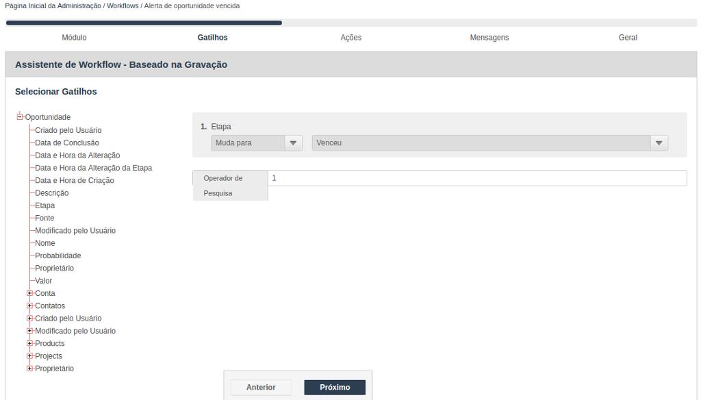 Assistente para criação de Workflow - Selecionar gatilhos