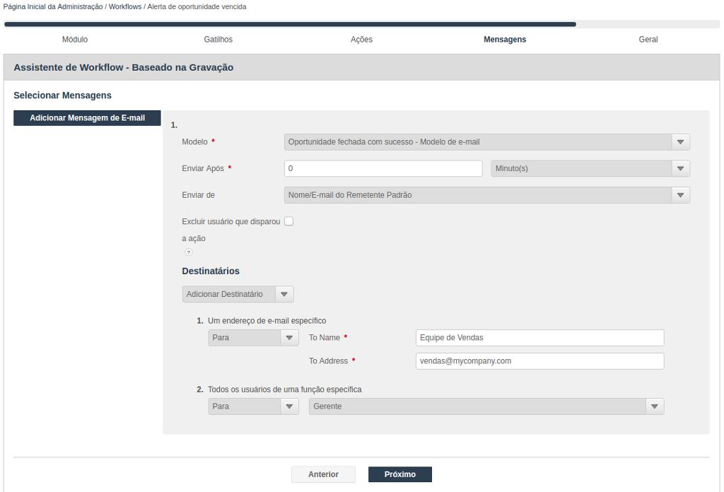Assistente para criação de Workflow - Selecionar mensagem