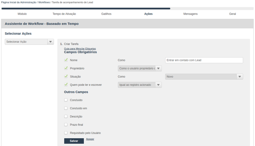 Assistente para criação de Workflow baseado em tempo - Criação de ação