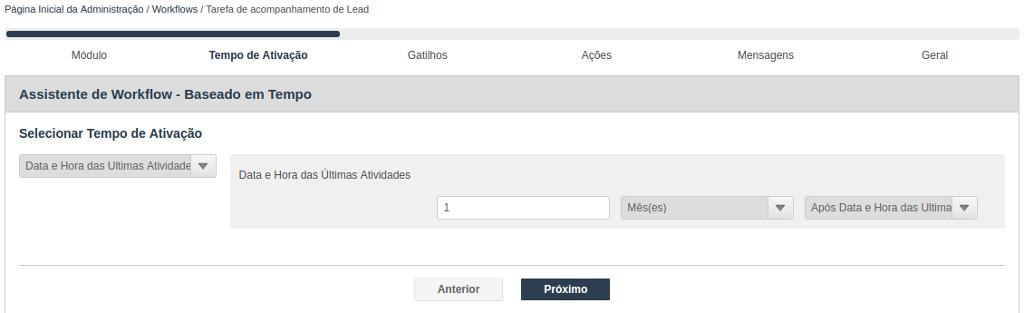 Assistente de criação para Workflow baseado em tempo - Seleção do tempo de ativação