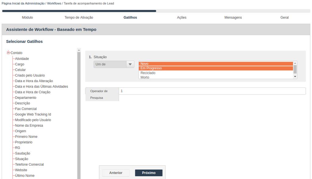 Assistente para criação de Workflow baseado em tempo - Seleção do gatilho