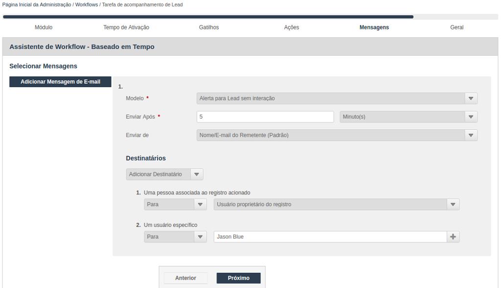 Assistente para criação de Workflow baseado em tempo - Seleção da mensagem