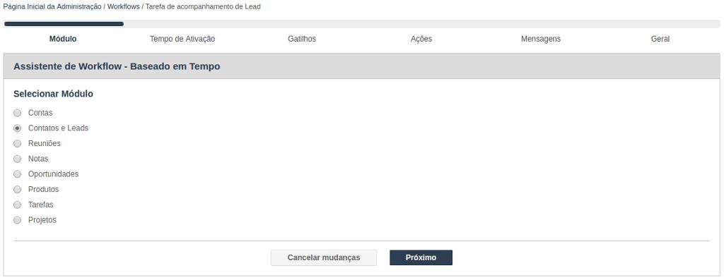 Assistente para criação de Workflow baseado em Tempo - Seleção do Módulo