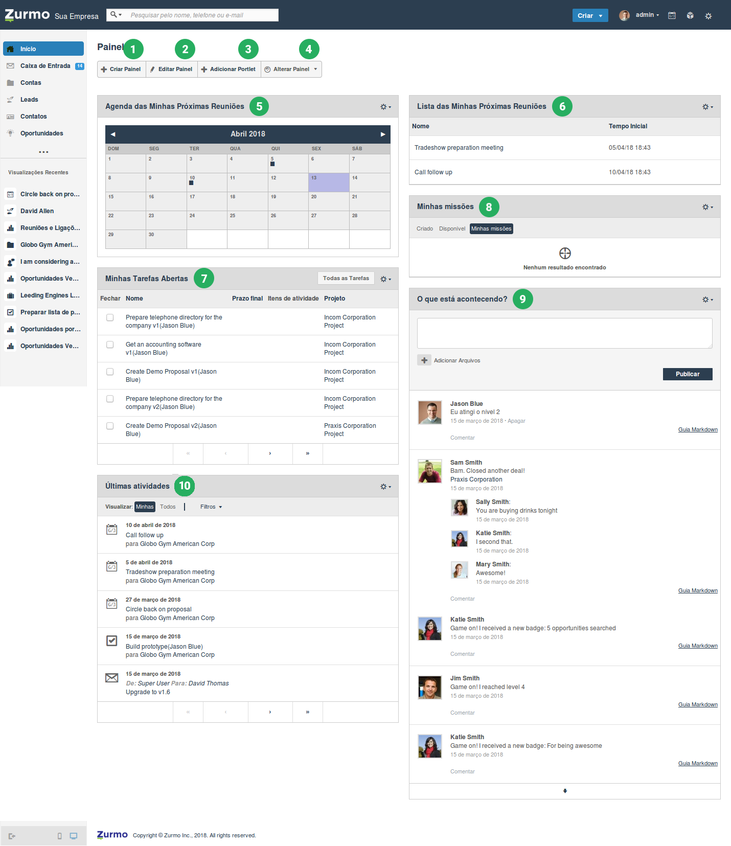 Painel Principal (Dashboard) do Inovatize Zurmo CRM