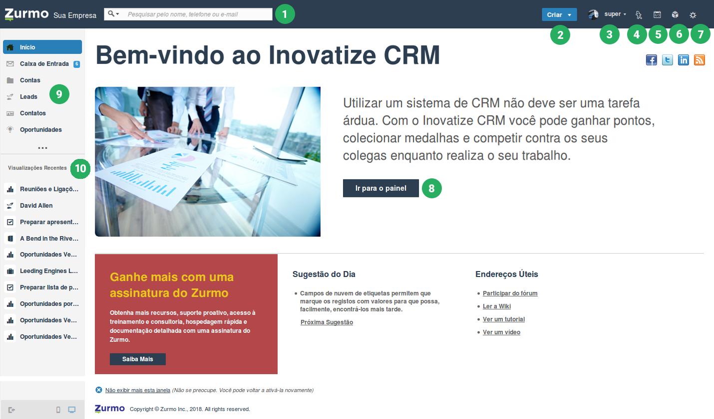 Tela de boas vindas do Inovatize Zurmo CRM