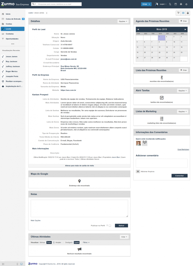 Detalhamento das informações de um Lead com as informações referente ao Kanban Prospect