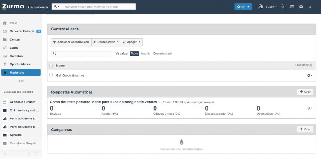 Criação do primeiro e-mail do fluxo de cadência no Inovatize Zurmo CRM