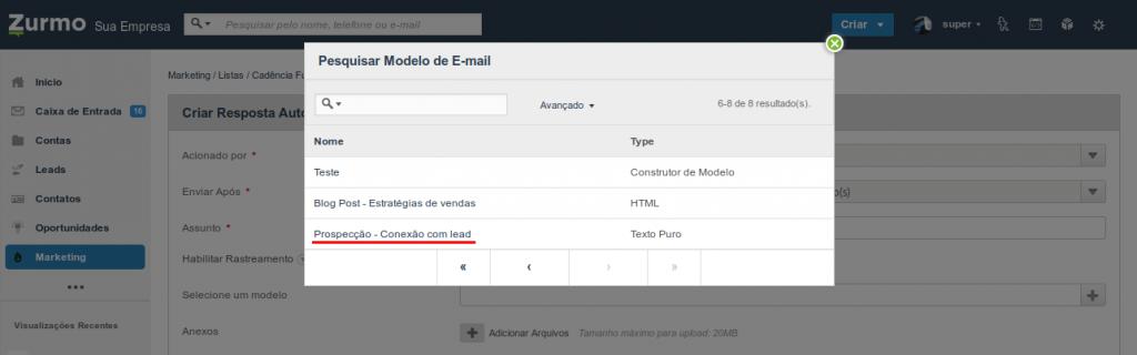 Seleção de um modelo de e-mail previamente criado para ser utilizado no fluxo de cadência