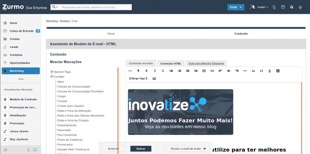 Conteúdo HTML do modelo de e-mail no Inovatize Zurmo CRM