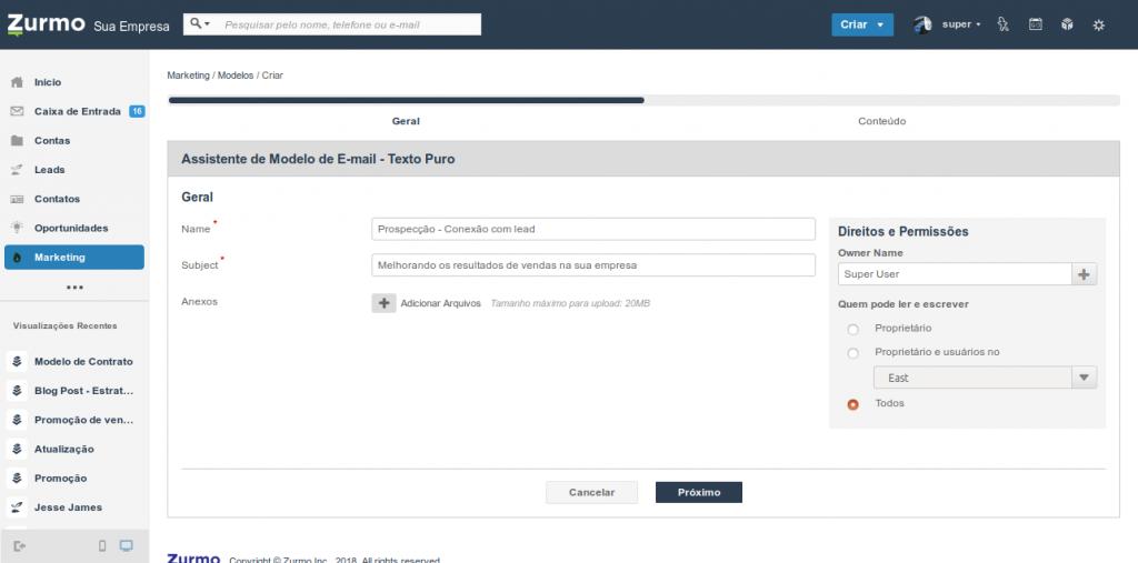 Assistente de modelo de e-mail para definição do nome, assunto e permissões de acesso