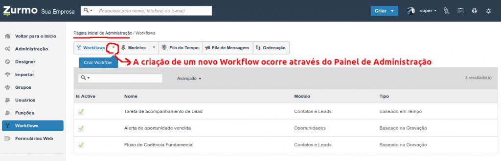 Criação de um novo workflow no Inovatize Zurmo CRM